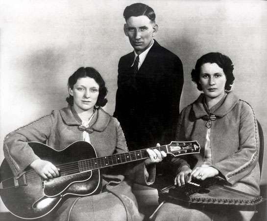 The Carter Family, from left to right: Maybelle Carter, A.P. Carter, and Sara Carter.