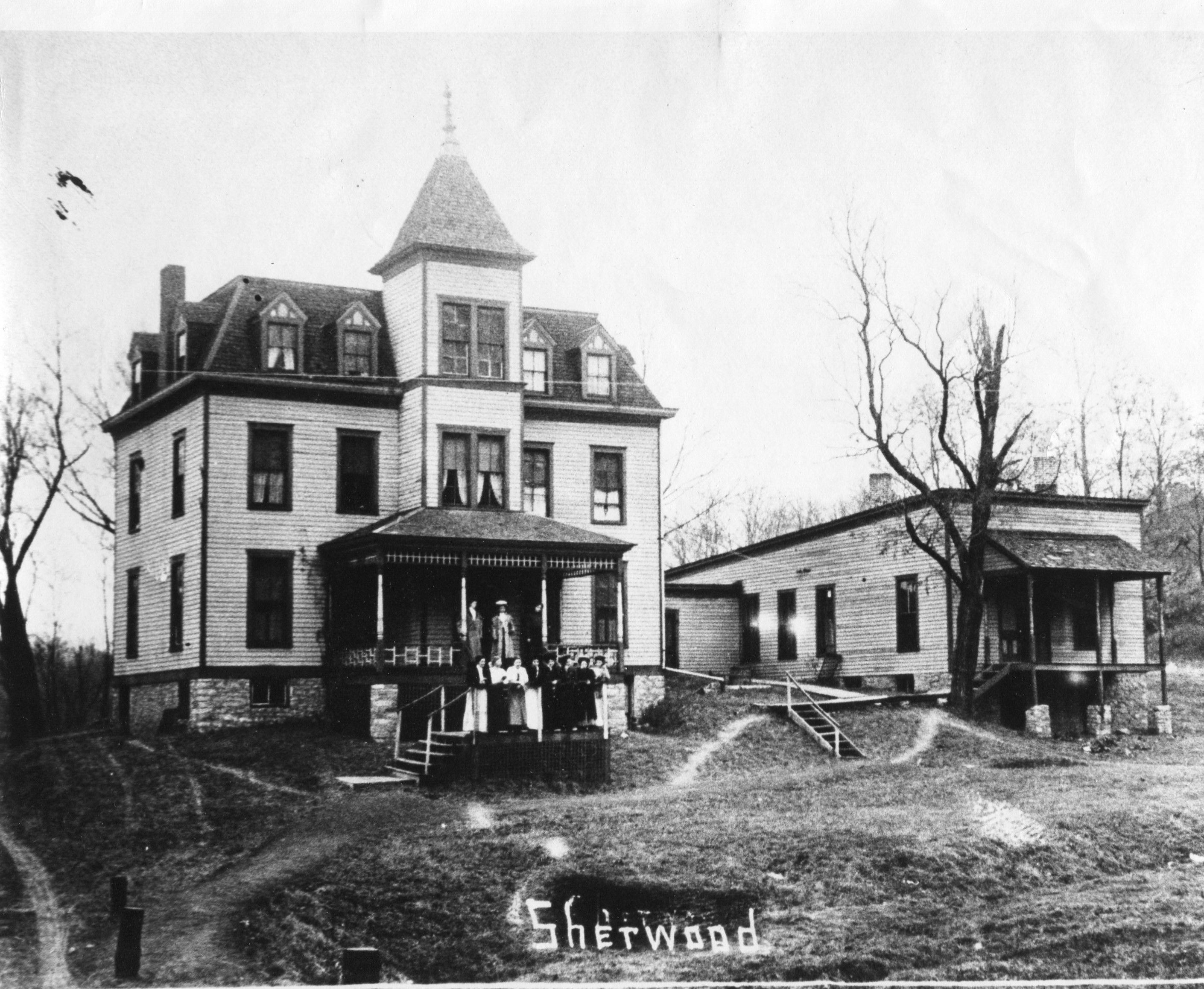 A photo of the front view of the Sherwood House.