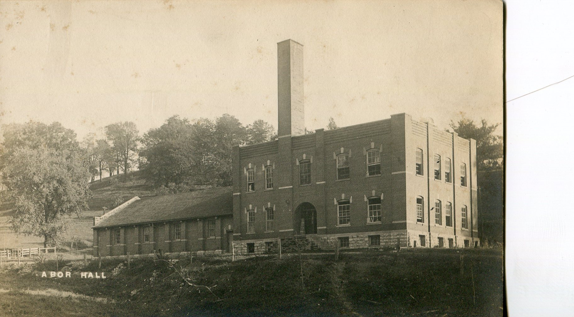 Labor Hall from the front. Note the smaller building to the left of Labor is called Field House and is not separate but attached.