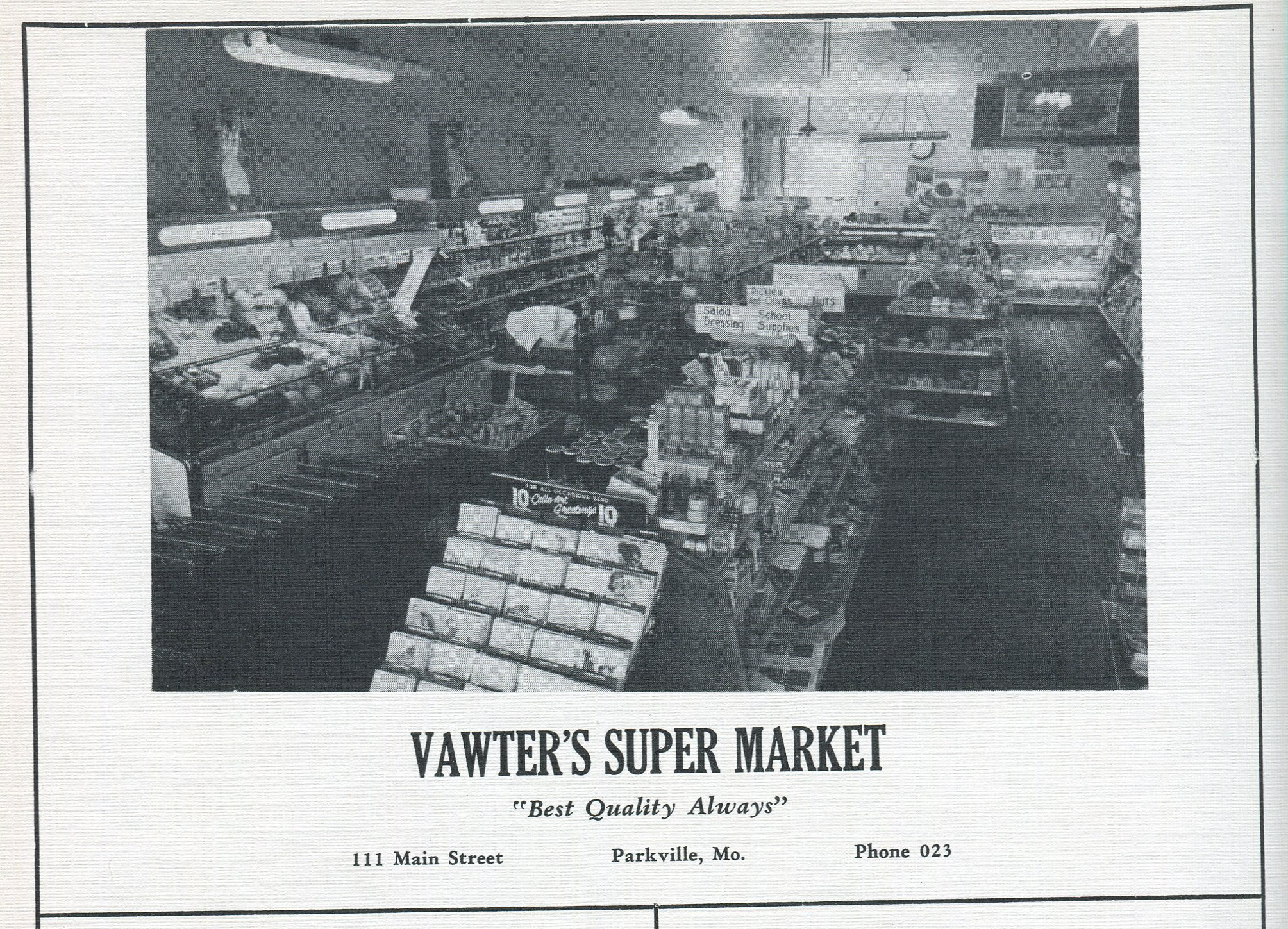 A look inside Vawter's Super Market, featuring aisles of groceries. An advertisement in the 1953 edition of the Narva, the Park College year book.