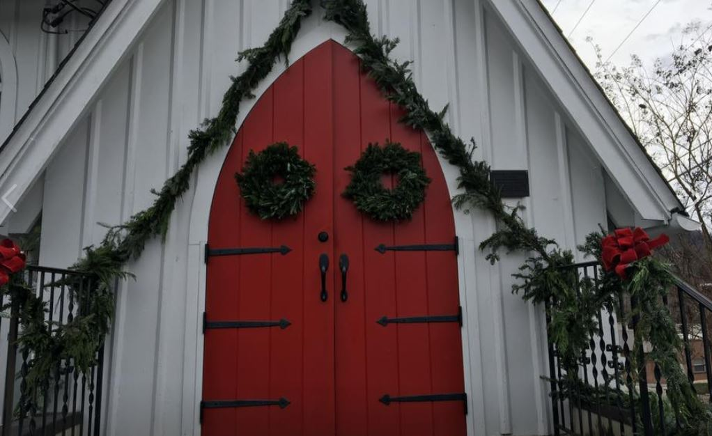 Door decorated for Christmas.