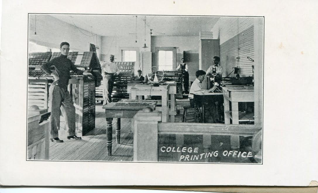 Photo taken of the interior of the Print Shop located in Westcott Building.