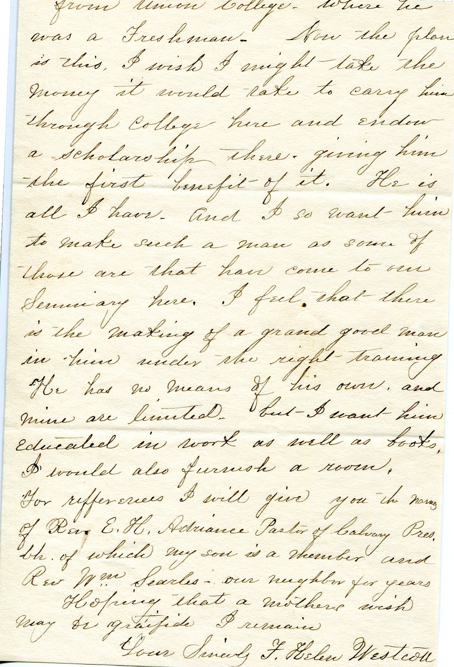 Page two of a letter from Helen Westcott to the Trustees of Park College regarding her husband Edwin R. Westcott's death and her wish to put aside money for her son to attend Park. December 31, 1894