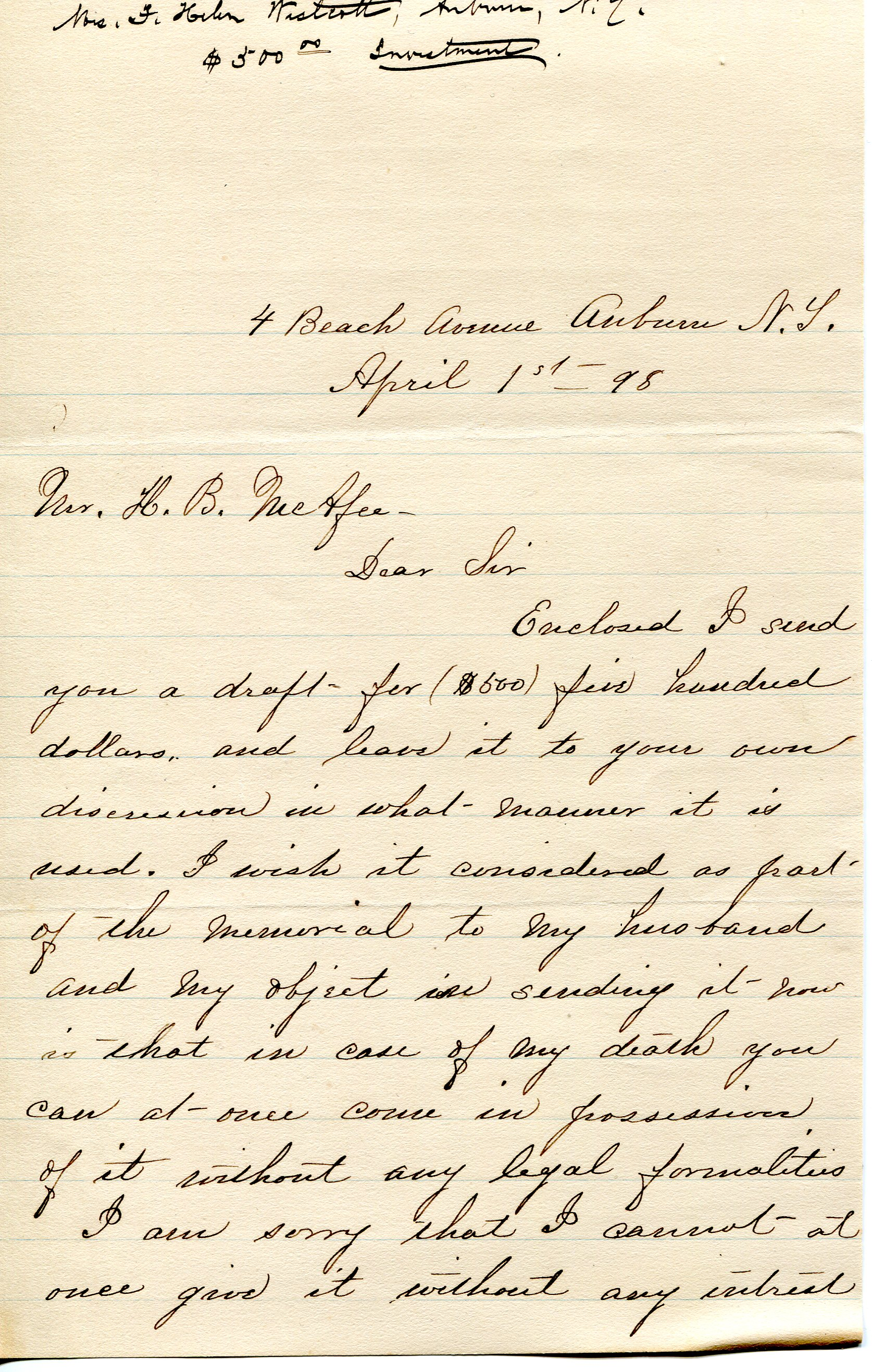 Page one of a letter from Helen Westcott to H. B. McAfee regarding the money she's sending and her thankfulness for Park's work. April 1, 1898