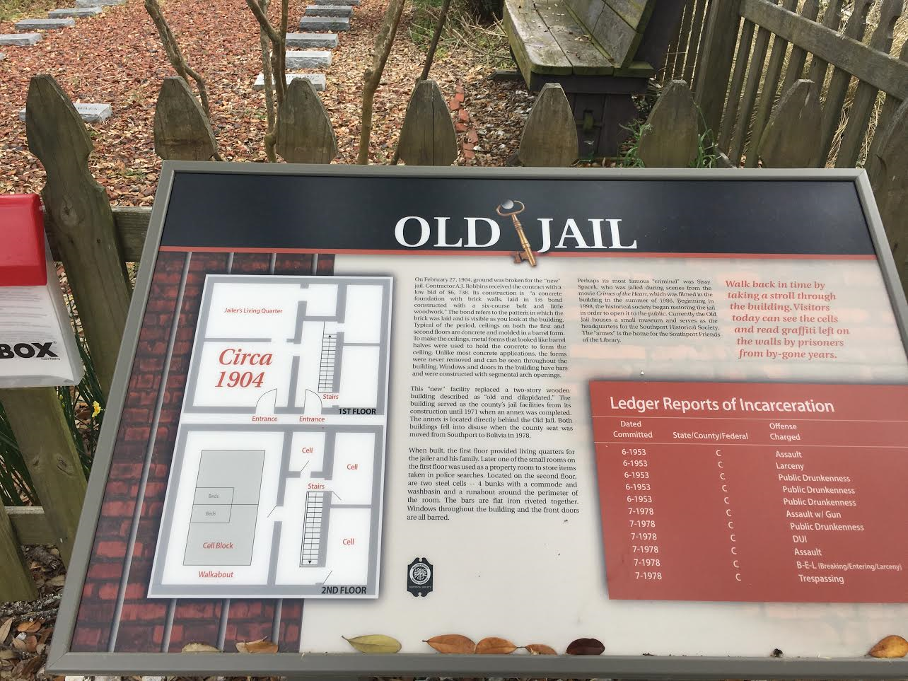 Information placard at the jail