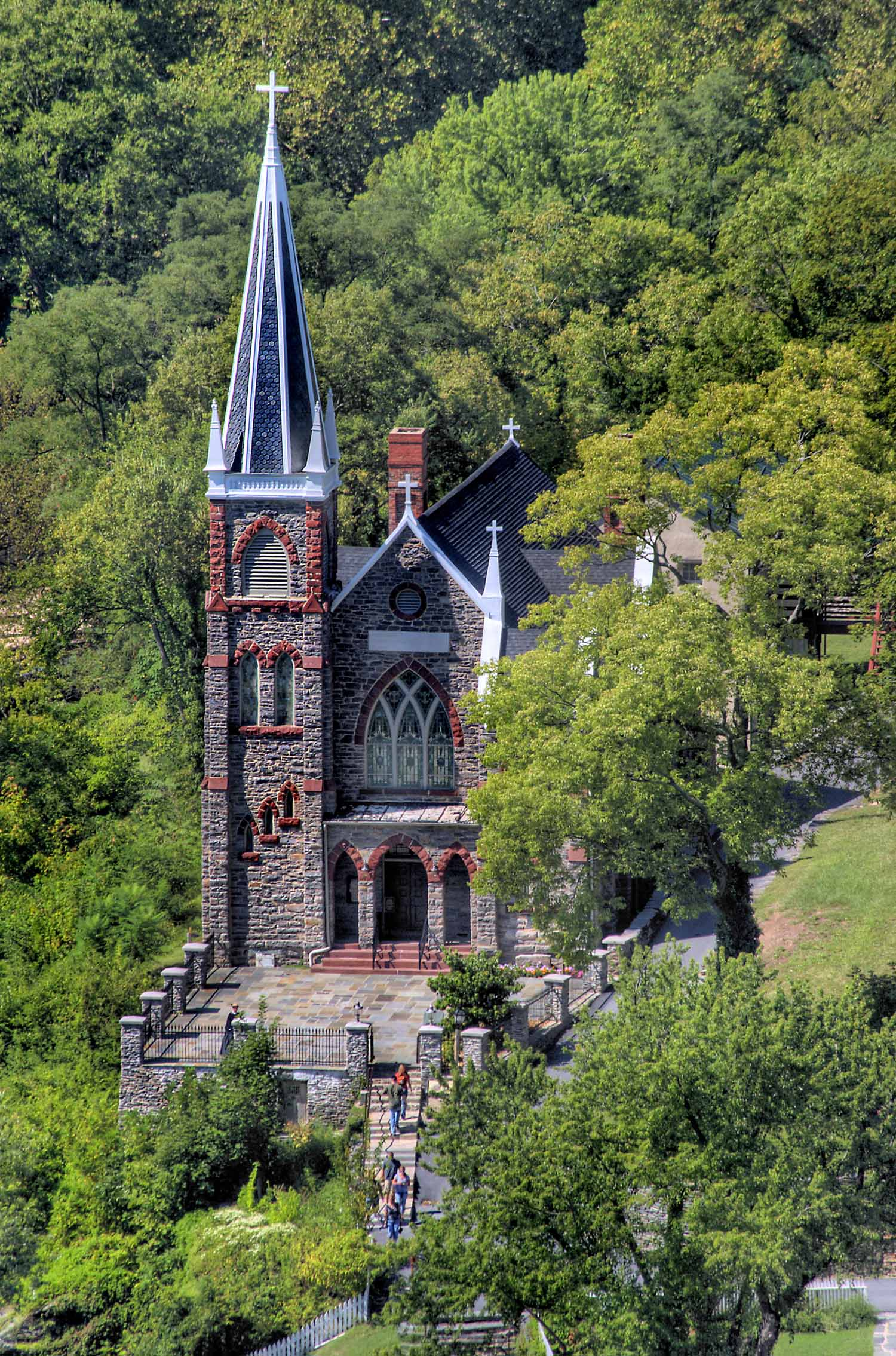 St. Peter's Church, as viewed from Maryland Heights. Courtesy of the Harpers Ferry-Bolivar Historic Town Foundation.