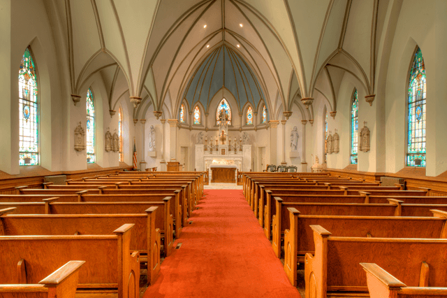The interior of St. Peter's church today. Image obtained from the St. James' parish website.