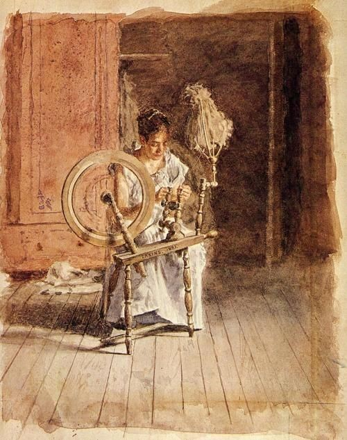 Girl spinning on a spinning wheel