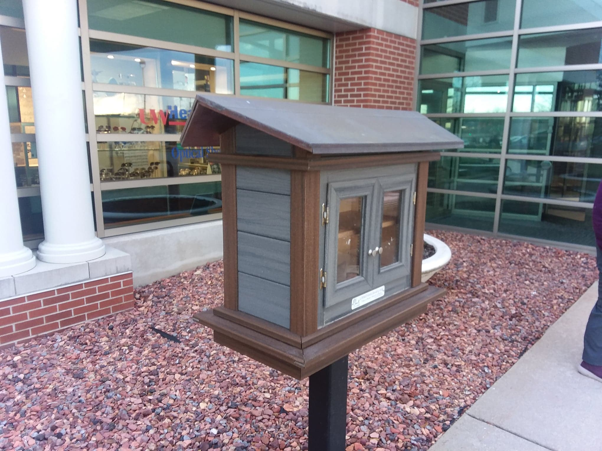 Little Free Library at entrance to UW Health East Clinic