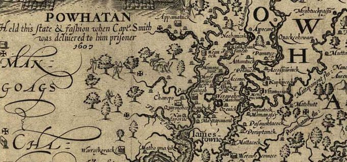Detail from John Smith's map of Virginia showing the Appamattuck town, image courtesy of the Library of Virginia.