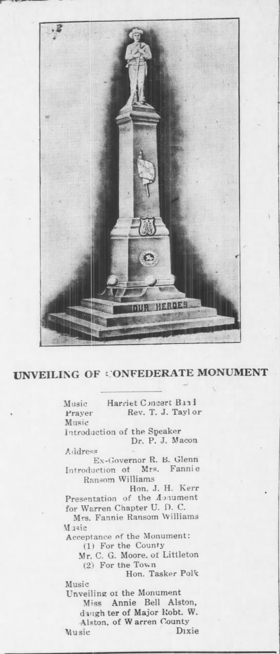 """Unveiling of Confederate Monument,"" in the Warren Record, 24 October 1913."