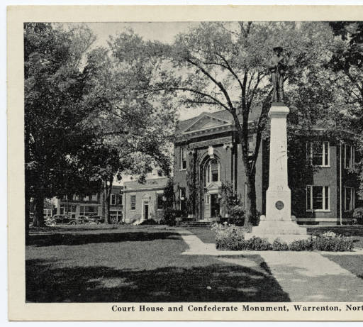 Court House and Confederate monument (source: Durwood Barbour Collection of North Carolina Postcards, Wilson Library, UNC)