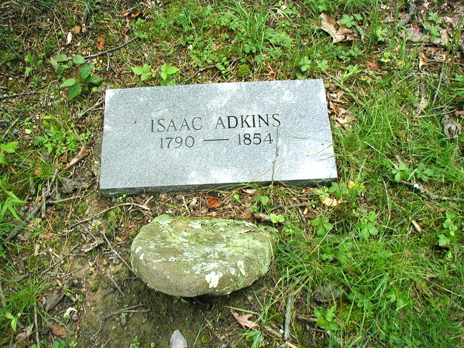 Isaac Adkins grave in the Adkins Family Cemetery at Harts, WV. Photo by Brandon Kirk.