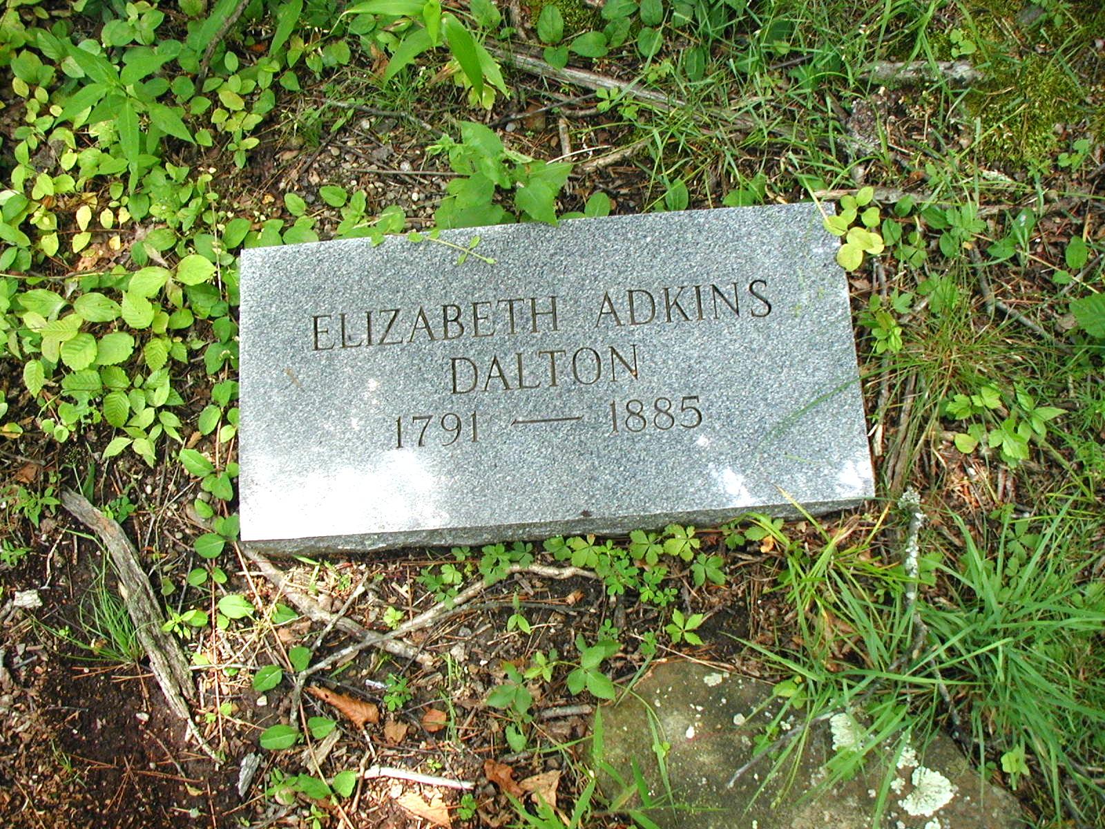 Elizabeth (Adkins) Adkins grave in the Adkins Family Cemetery at Harts, WV. Photo by Brandon Kirk.