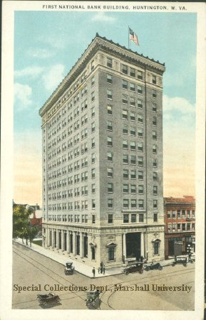 Postcard of the First National Bank, circa 1915