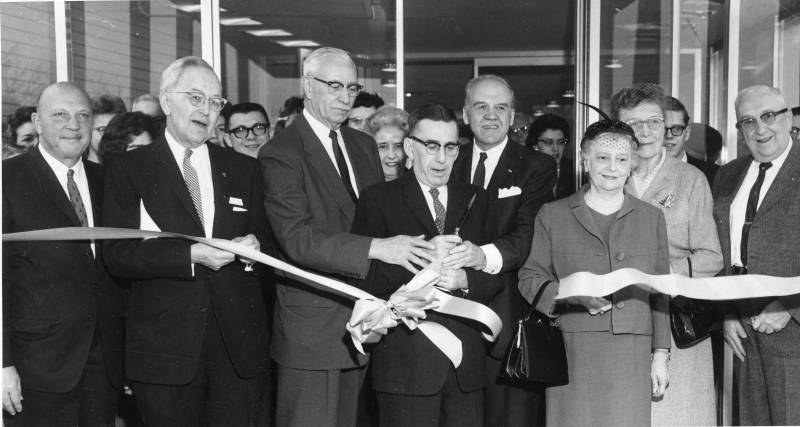 Rodman Public Library ribbon cutting ceremony, February 9, 1963