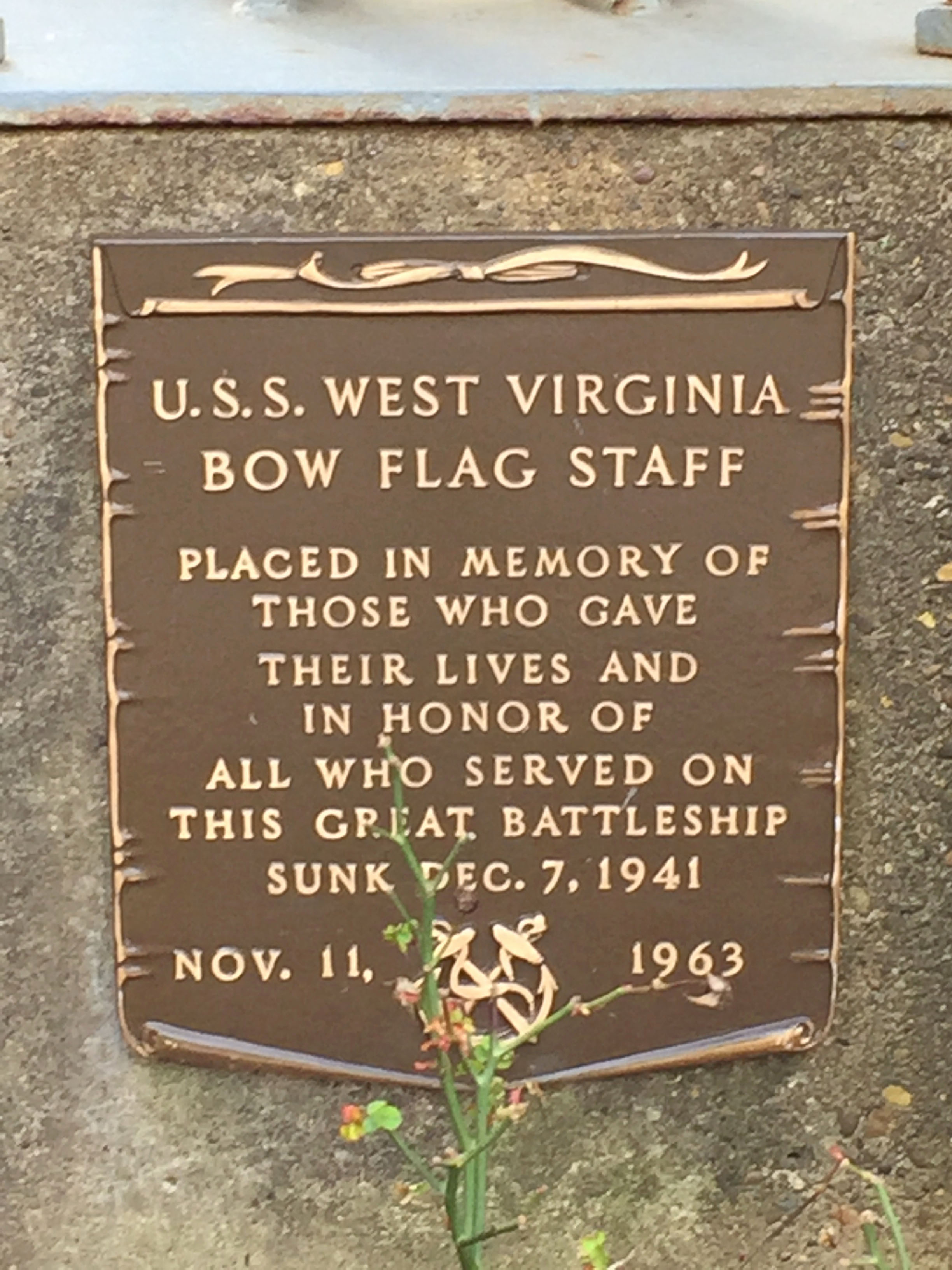 Marker at the base of the Flag Staff. Photo by Juanita DeBerry February 18, 2017.