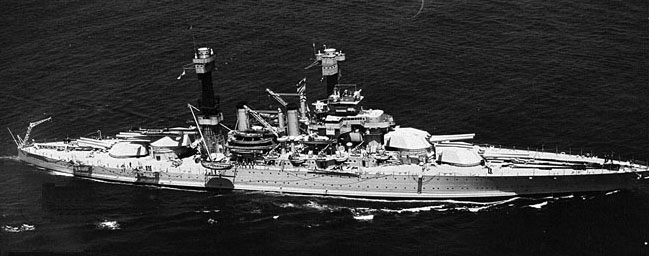 The USS West Virginia before World War II and the Battle at Pearl Harbor. Photo from Battleship USS West Virginia website.