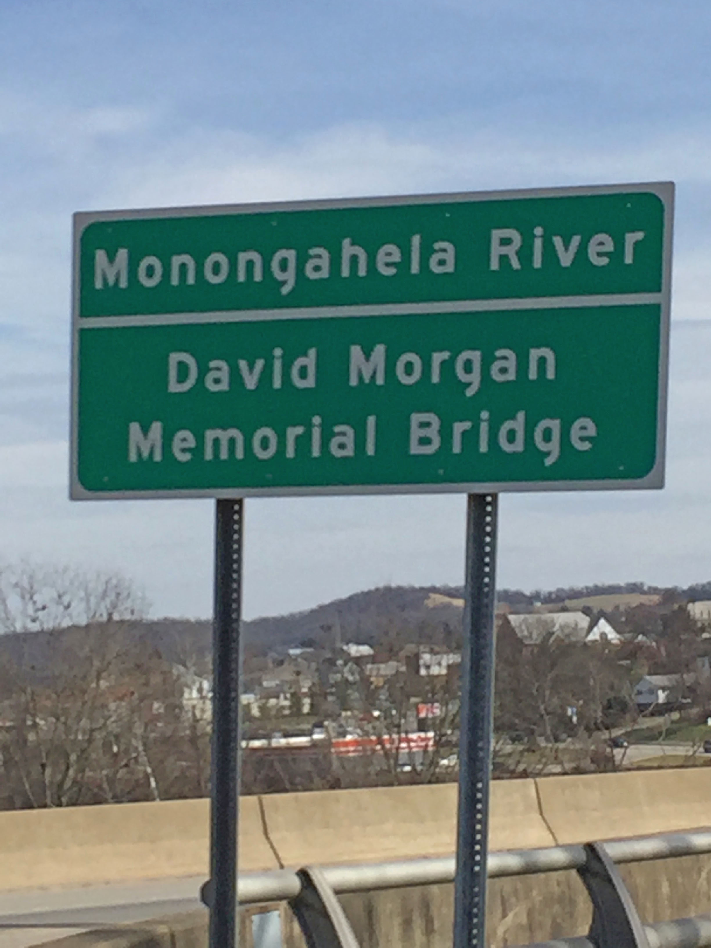 David Morgan Memorial Bridge sign. Photo by Juanita DeBerry Feb. 18, 2017