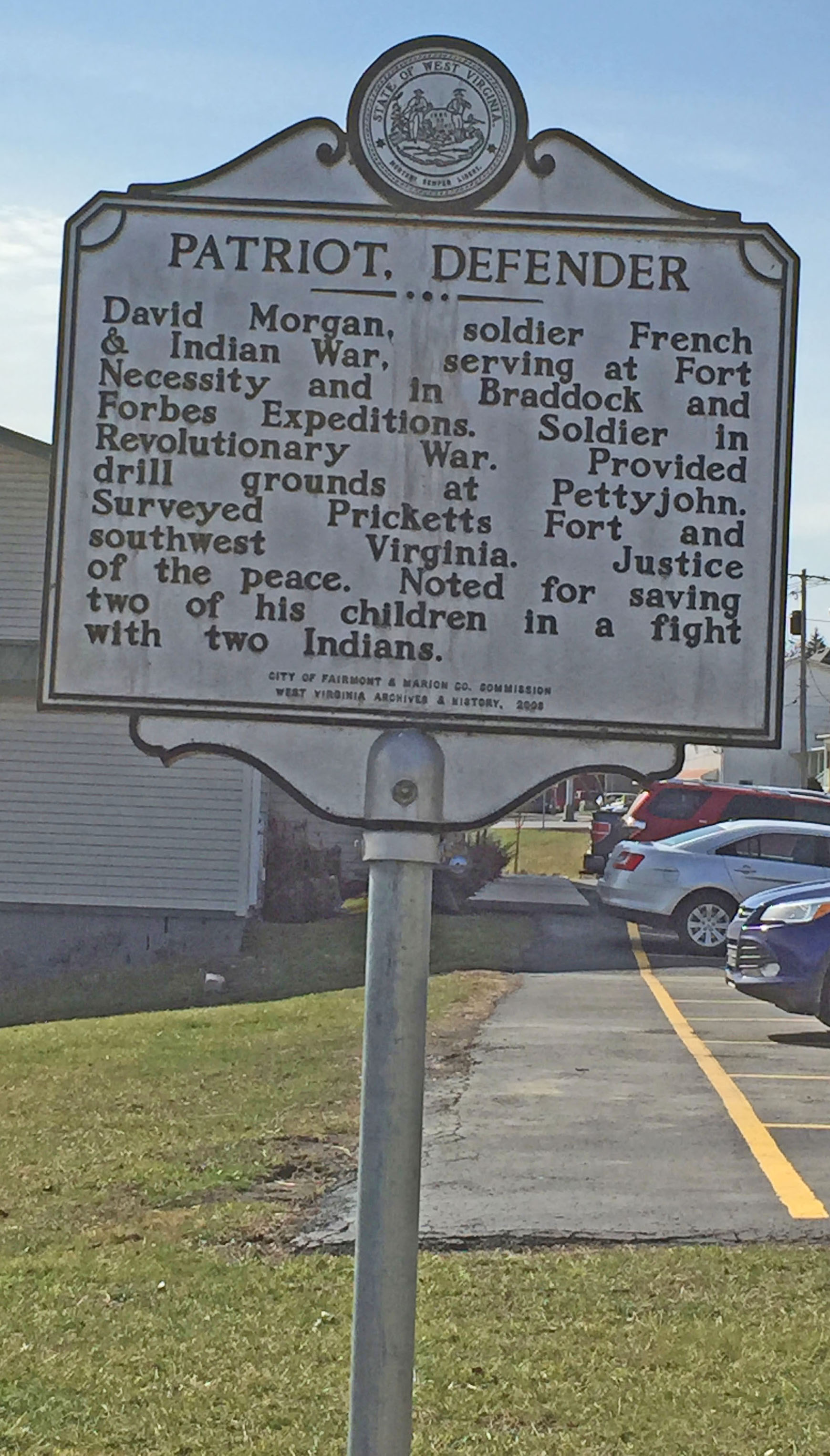 Patriot Defender - David Morgan historical marker. Photo by Juanita DeBerry Feb. 18, 2017