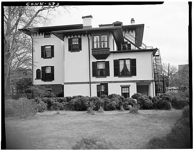 rear view of James Dwight Dana House, photographed by Robert Fulton III, June 1967 (Library of Congress)