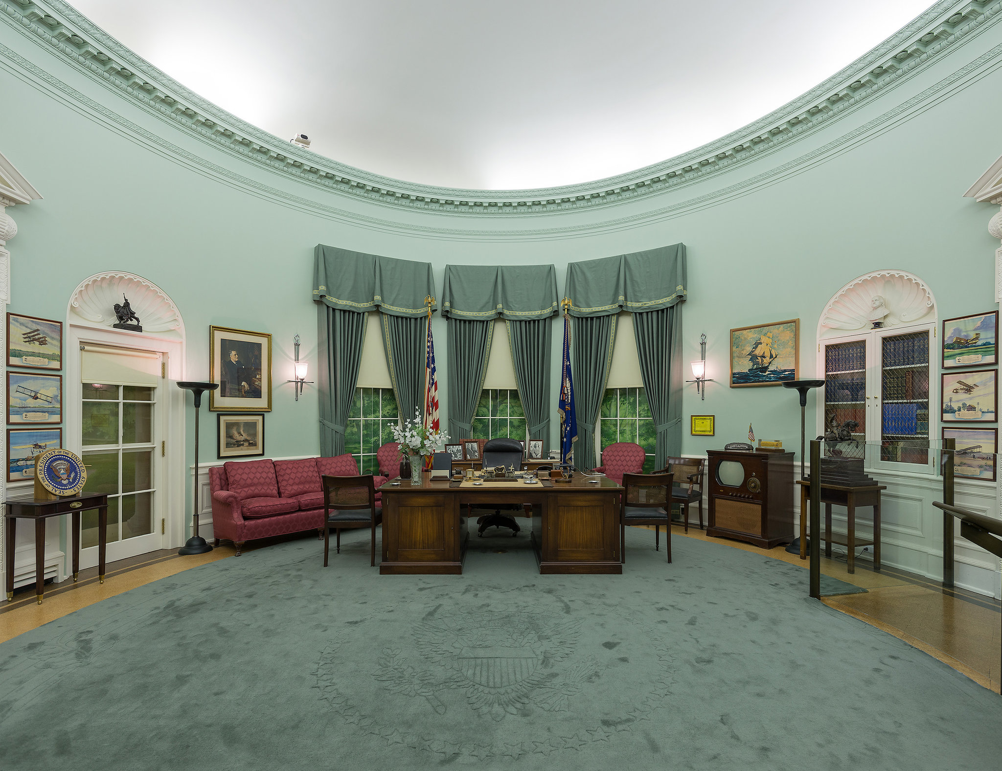 The museum features many attractions and exhibits including a scale replica of President Truman's Oval Office while in the White House pictured here.