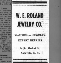 Newpaper advertisement for W. E. Roland Jewelry Company, originally published April 15, 1950 in the Southland Advocate.