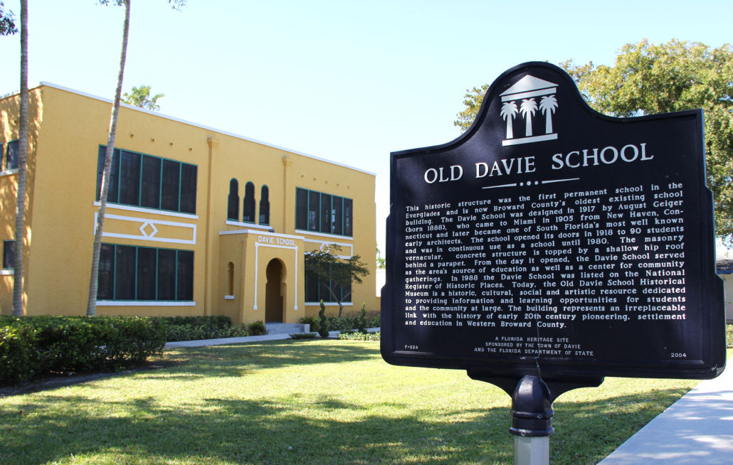 More than 100 years later the school still stands, serving as a school, town hall, dance hall, Broward County School Board office space, shelter during floods and hurricanes, and today is preserved as the Old Davie School Historical Museum.