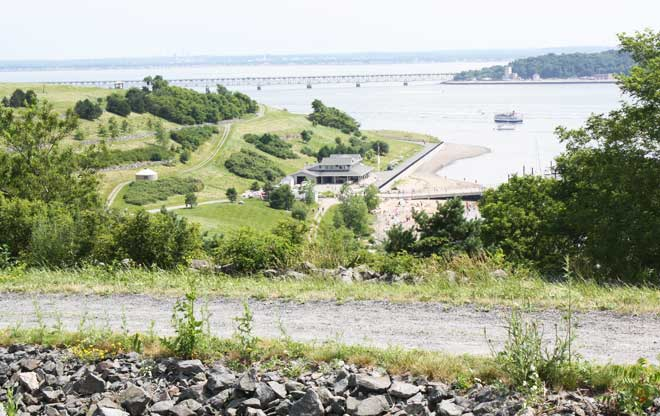 "Island view.  The building in the center of the photograph is the ""green"" visitor center. 