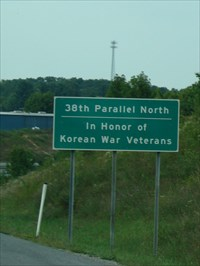 Close-up view of 38th Parallel Memorial sign.
