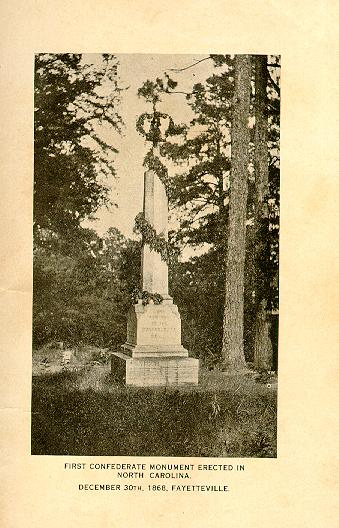 North Carolina's oldest Confederate monument (source: War Days in Fayetteville, p. 4)