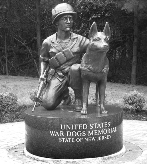 Statue at the entrance of the Wardog Memorial