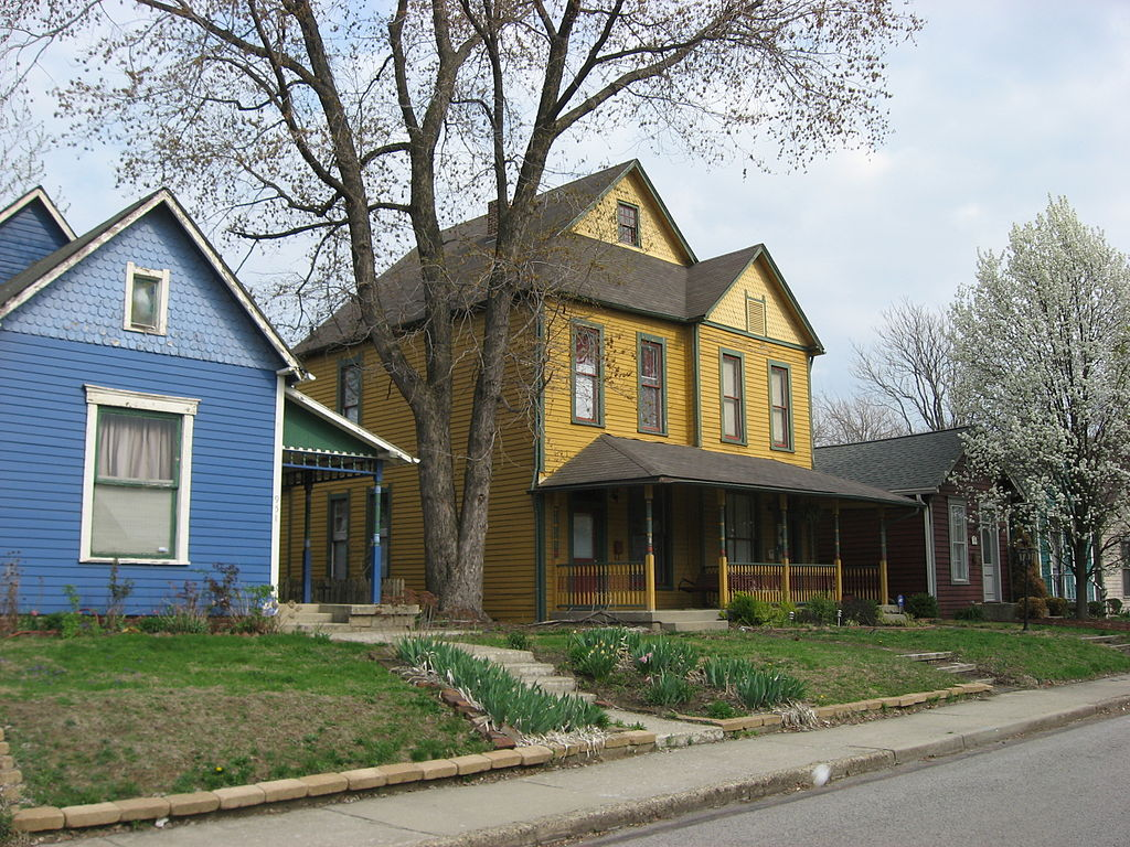 Houses on the eastern side of the 900 block of N. Camp Street in Indianapolis, Indiana, United States. This block is part of the Ransom Place Historic District, a historic district that is listed on the National Register of Historic Places.