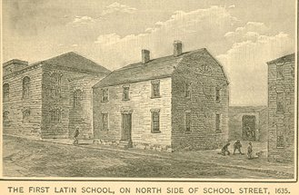 The first Boston Latin School, on the North side of School Street, 1635.  Although the postcard says 1635, it is likely that this is the building that was constructed about 10 years later.