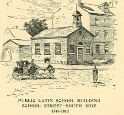 The second Boston Latin School, on the South side of School Street, which sat on this location from 1745-1812.