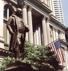 The Benjamin Franklin Statue which represents the original site of the Boston Latin School, the first public school in the country.