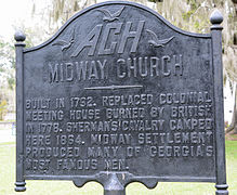 One of several historical markers near the church and cemetery.