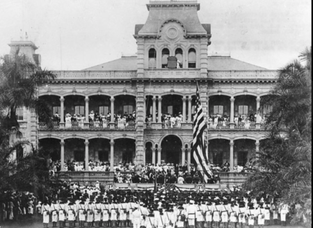 After the kingdom of Hawaii was overthrown by the United States government, the Hawaiian flag was lowered and replaced with an American flag.
