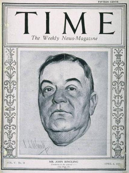 John RIngling on the cover of Time magazine April. 6, 1925.