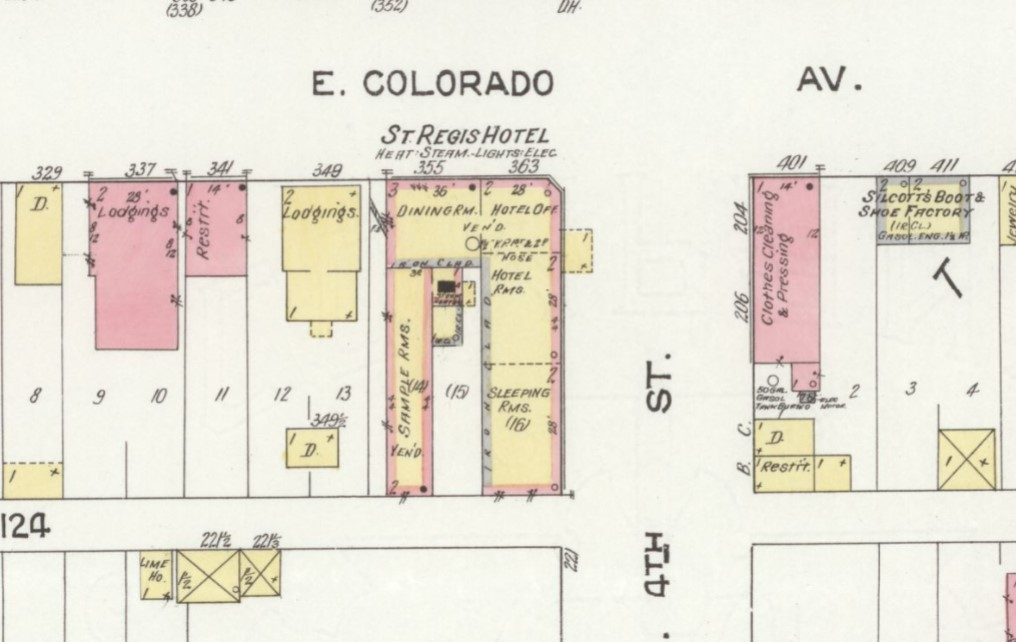 St. Regis Hotel building on 1912 Sanborn map of Grand Junction, Co., p. 11