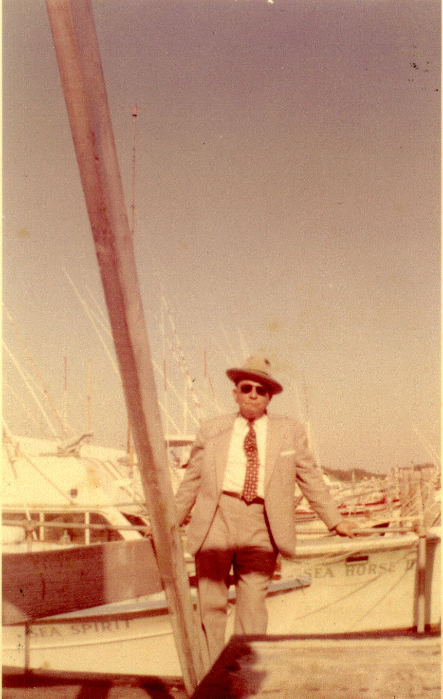 George Kousaleos Sr. in Tarpon Springs, Florida, circa 1959. Kousaleos, owner of the Philadelphia-based Gulf of Mexico Sponge Company, purchased  the sponge warehouse building now located at Heritage Village from it's original owner in the mid-1950s.