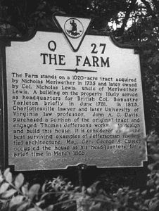 Lewis Farm Historical Plaque