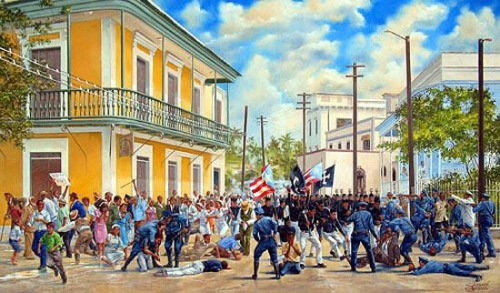This painting is a visual representation of the Massacre at Ponce. It represents the epitome of the struggle on the island of Puerto Rico for independence.
