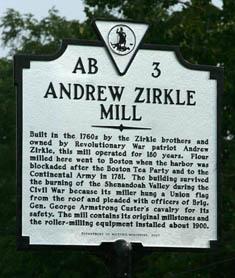 The Andrew Zirkle Mill Historical Plaque