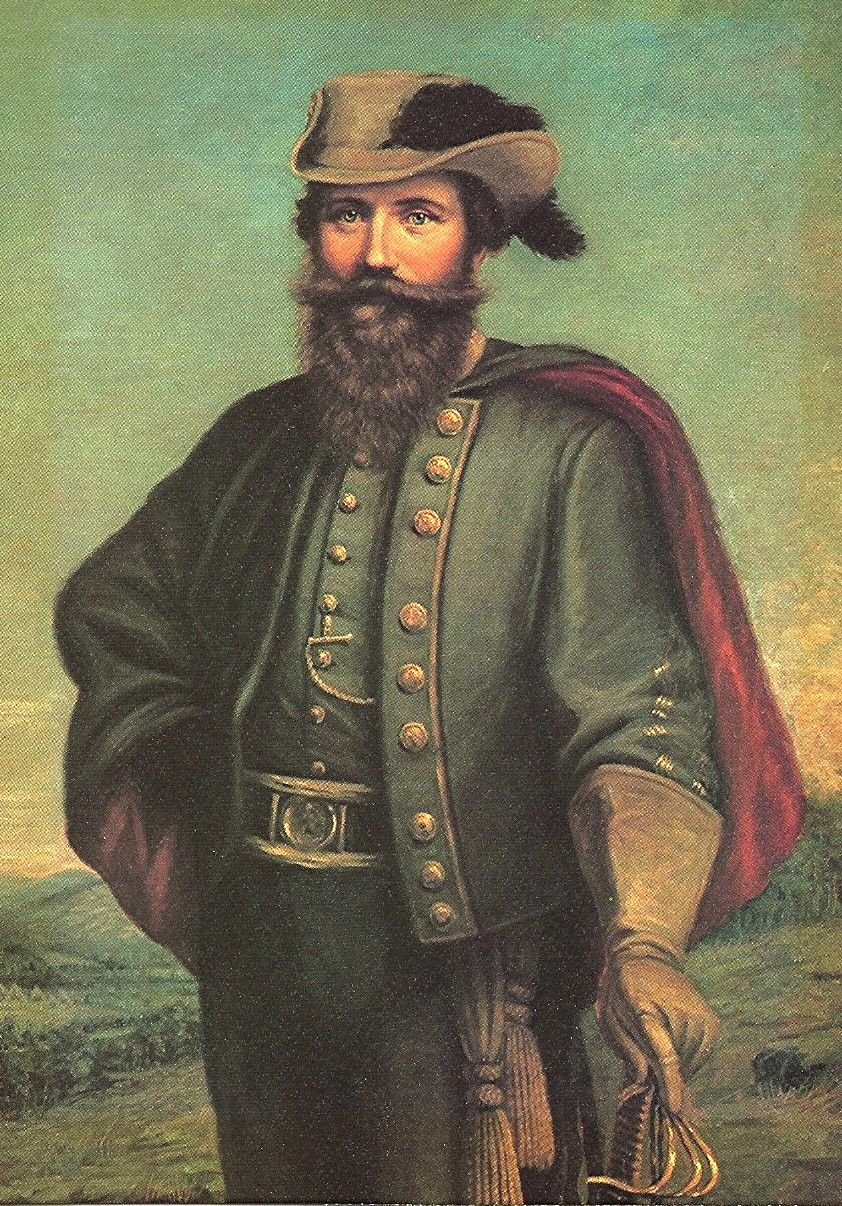 J.E.B. Stuart portrayed in his famous cape and plumed hat.