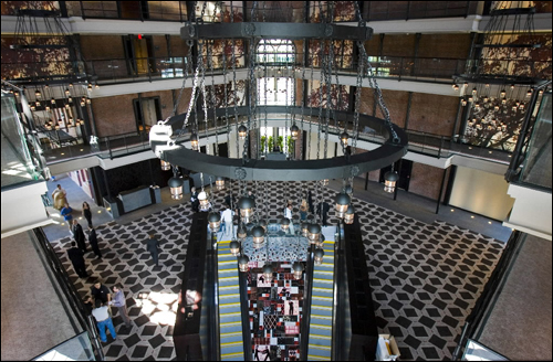 The central atrium of the Liberty Hotel.   Courtesy of The Boston Globe, http://archive.boston.com/business/gallery/Liberty_Hotel?pg=2
