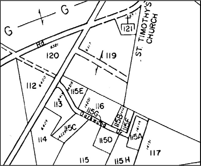 1960 Property Map showing point P.