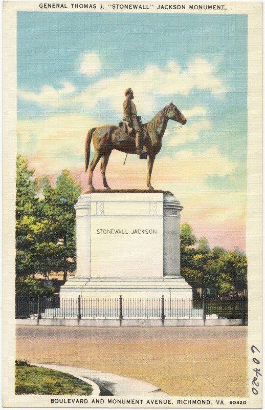Historic postcard of the Stonewall Jackson Monument