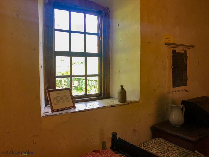 This window reveals the thickness of the walls.  All the windows are splayed wider on the interior to allow more light to enter.