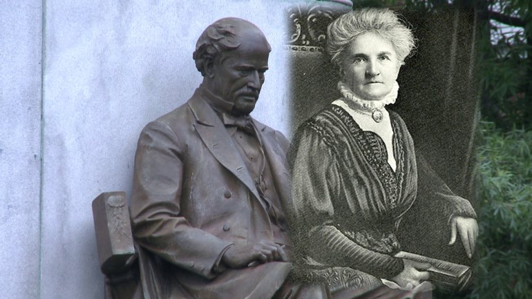 Maury statue (left) and Elvira Moffitt (right) (image from WTVR News)